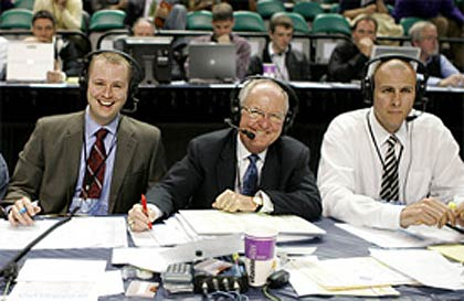 Jones Angell '01, left, with Woody Durham '63 and Eric Montross '94.