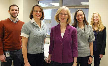 Chris Hilliard, Laura M. Thornton, Cynthia M. Bulik, Lauren Metzger '13 (MSW) and Jessica Baker make up UNC's ANGI team.