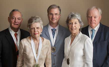 From left are Van Louis Weatherspoon '54, Kay Massey Weatherspoon, Chancellor Holden Thorp '86, Mary Ann Keith Massey '59 and C. Knox Massey Jr. '59.
