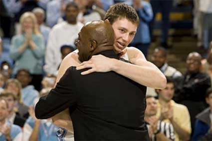Tyler Hansbrough hugs Phil Ford after breaking his career scoring record.
