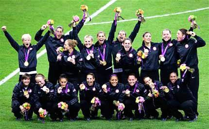 U.S. Women's Soccer Gold Medalists - AP Photo