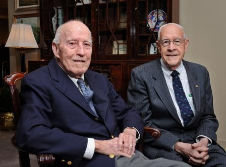 Former law Dean Dickson Phillips Jr. '48 (JD) and Professor Fred Brooks Jr.