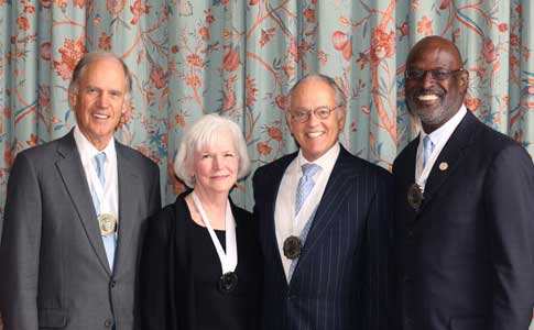 Recipients of the 2012 Distinguished Service Medals are, from left, Bill Harrison '66, Shirley Ort, John Ellison '69 and Randy Jones '79. Photo by Sarah Arneson '96.