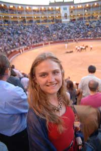 Emily at the bull fight