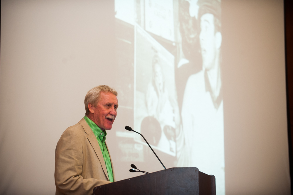 Historian Freddie Kiger '74 ('77 MAT) was the featured speaker at the class of '55 reunion dinner. (Photo by Shane Snider)
