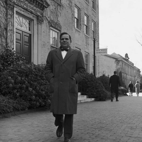 Aycock outside South Building in December 1962.