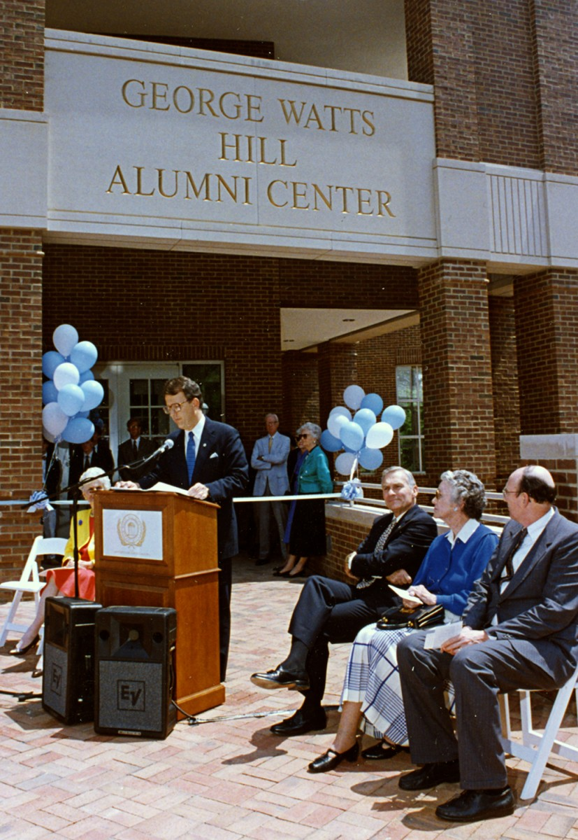 Dibbert speaks at the dedication ceremony of the George Watts Hill Alumni Center in May 1993.