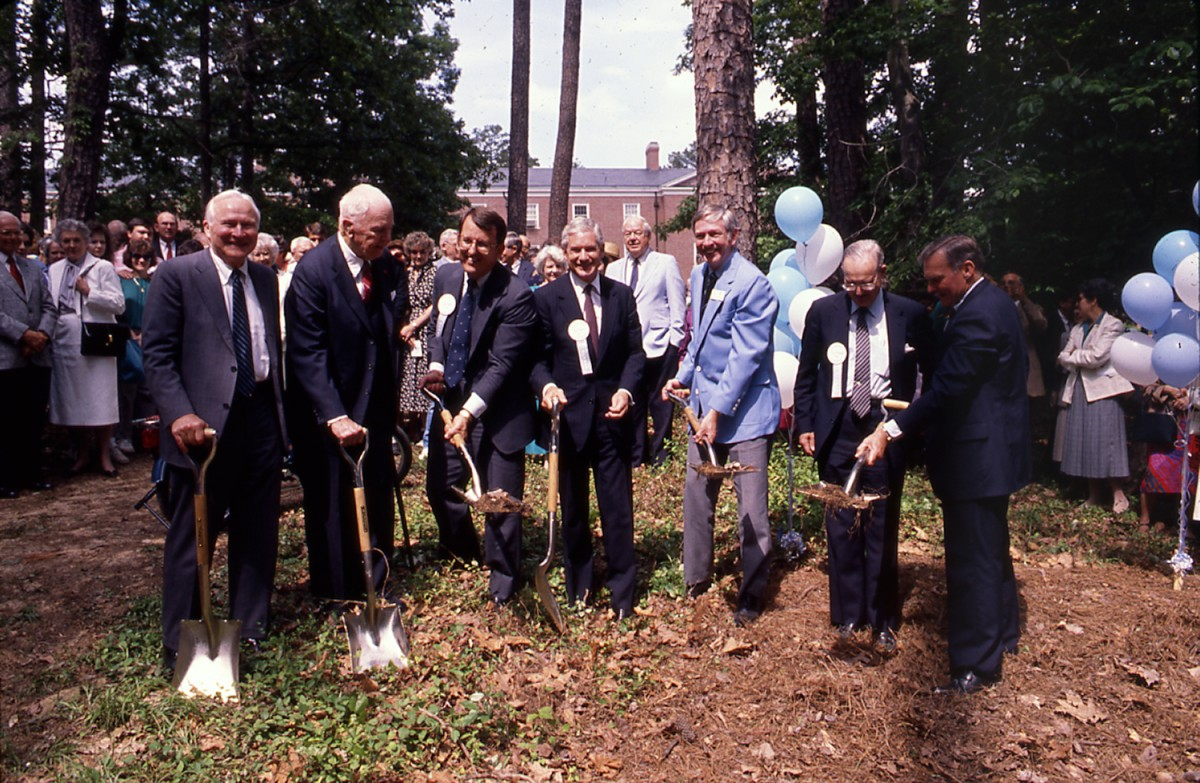 Dibbert, third from the left, joins in breaking ground for the George Watts Hill Alumni Center on May 13, 1989. (Photo by Will Owens '88)