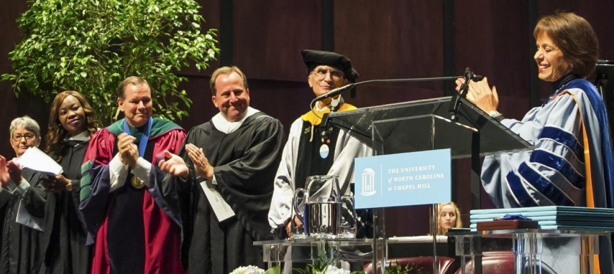 Chancellor Carol L. Folt recognizes Professor Aziz Sancar at University Day 2015.