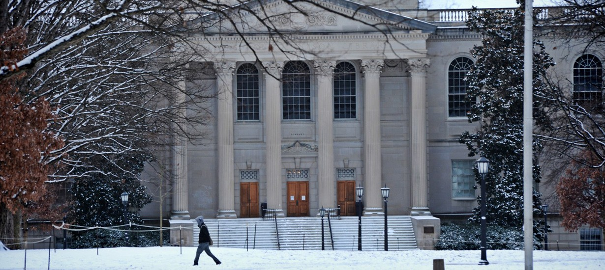 Wilson Library in winter. (UNC photo)
