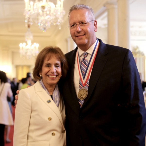 UNC Chancellor Carol L. Folt with Joseph DeSimone at the White House