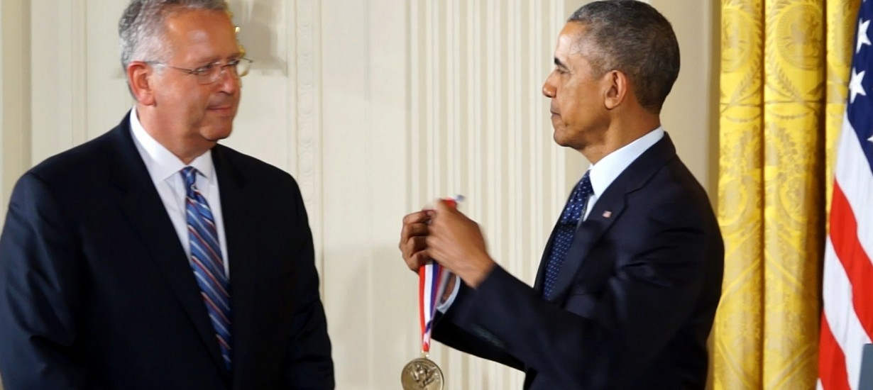 President Barack Obama presents the National Medal of Technology and Innovation to Joseph DeSimone