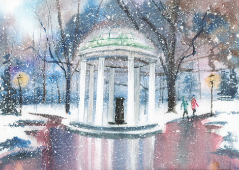 Paint at Home: Wintry Old Well