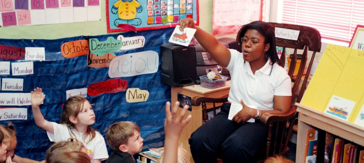 A student teacher at work in a school in Hillsborough. (UNC photo)