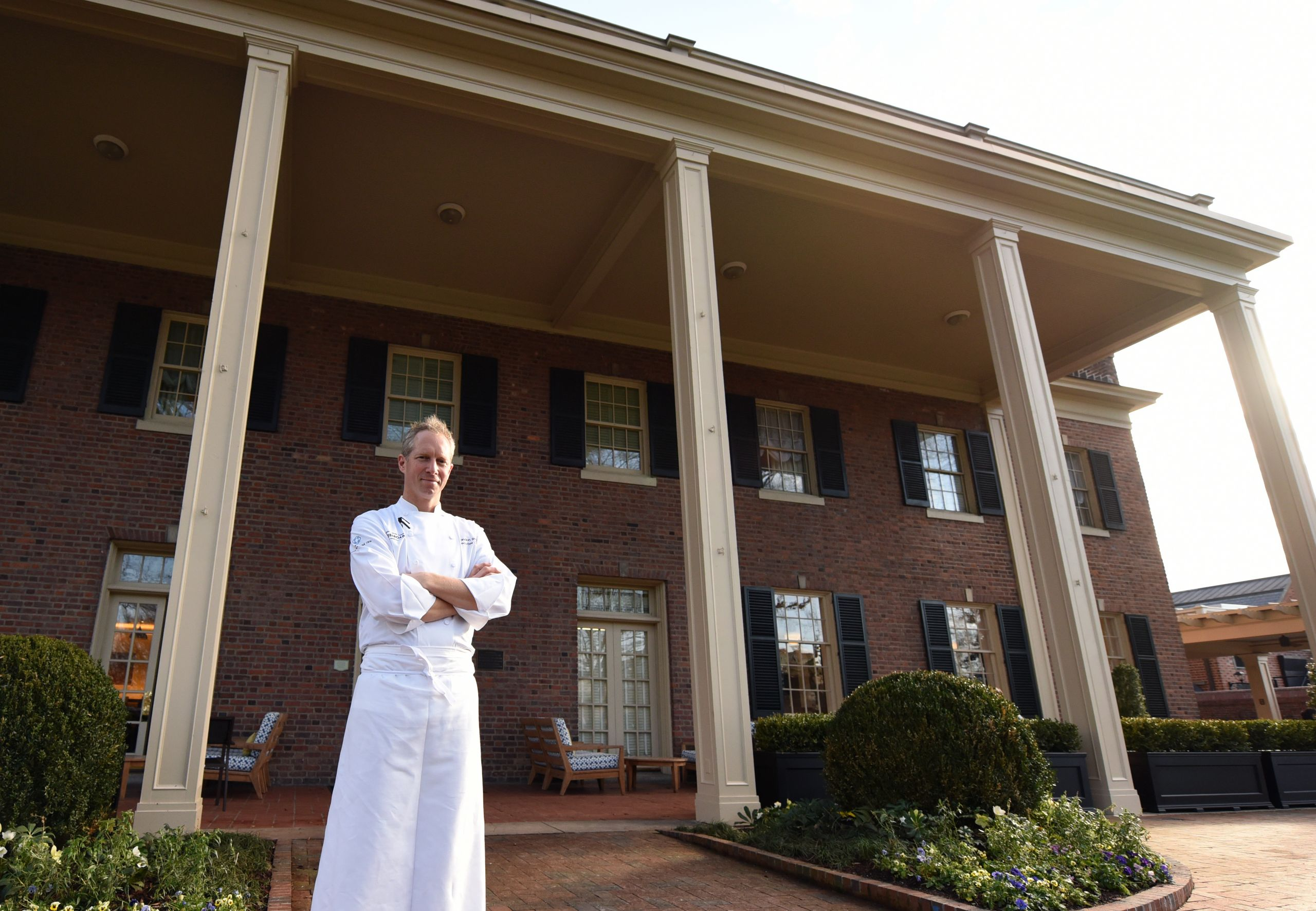 The Carolina Inn Chef Brandon Sharp '97 has gone from busing tables at Chi-Chi's in Greensboro to earning seven consecutive Michelin stars. (Photo by Melanie Busbee '04/UNC)