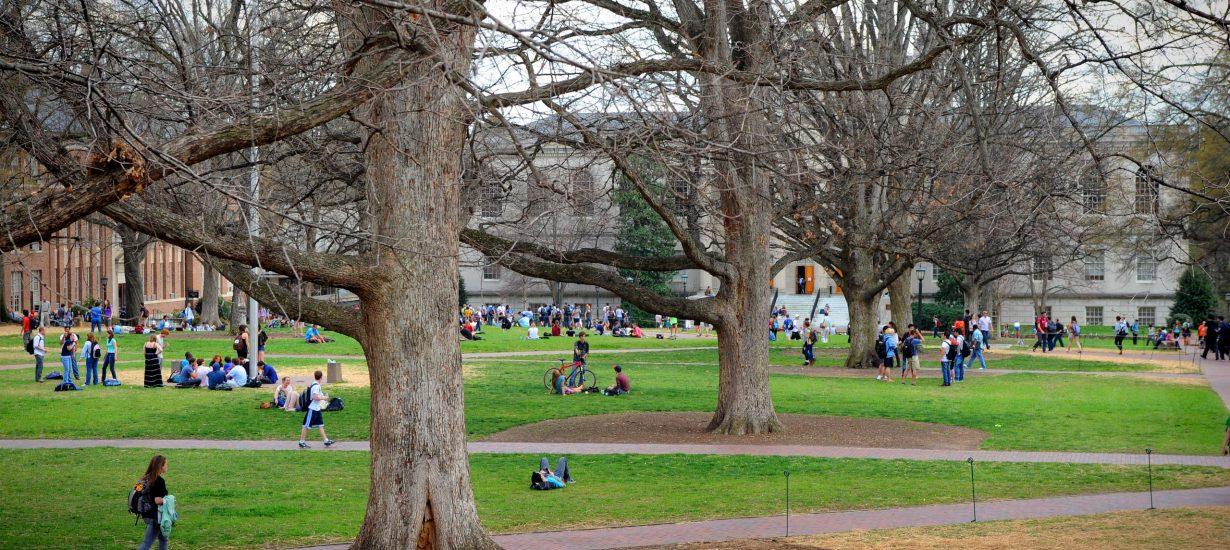 Students crowd Polk Place, Carolina's main academic quad. (UNC photo)