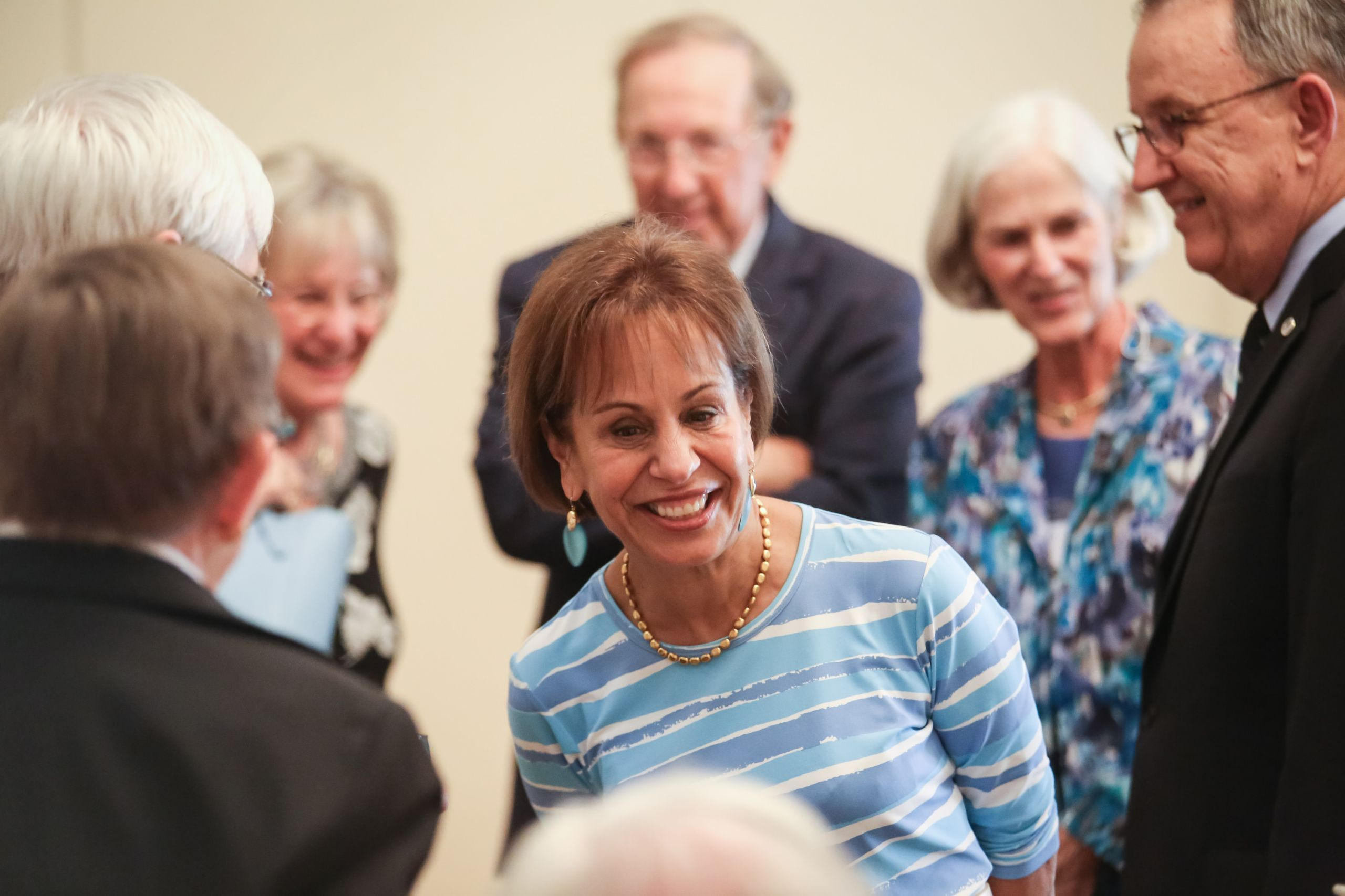 UNC Chancellor Carol L. Folt visited class of '57 alumni and guests at the reunion dinner. (Photo by Ray Black III)