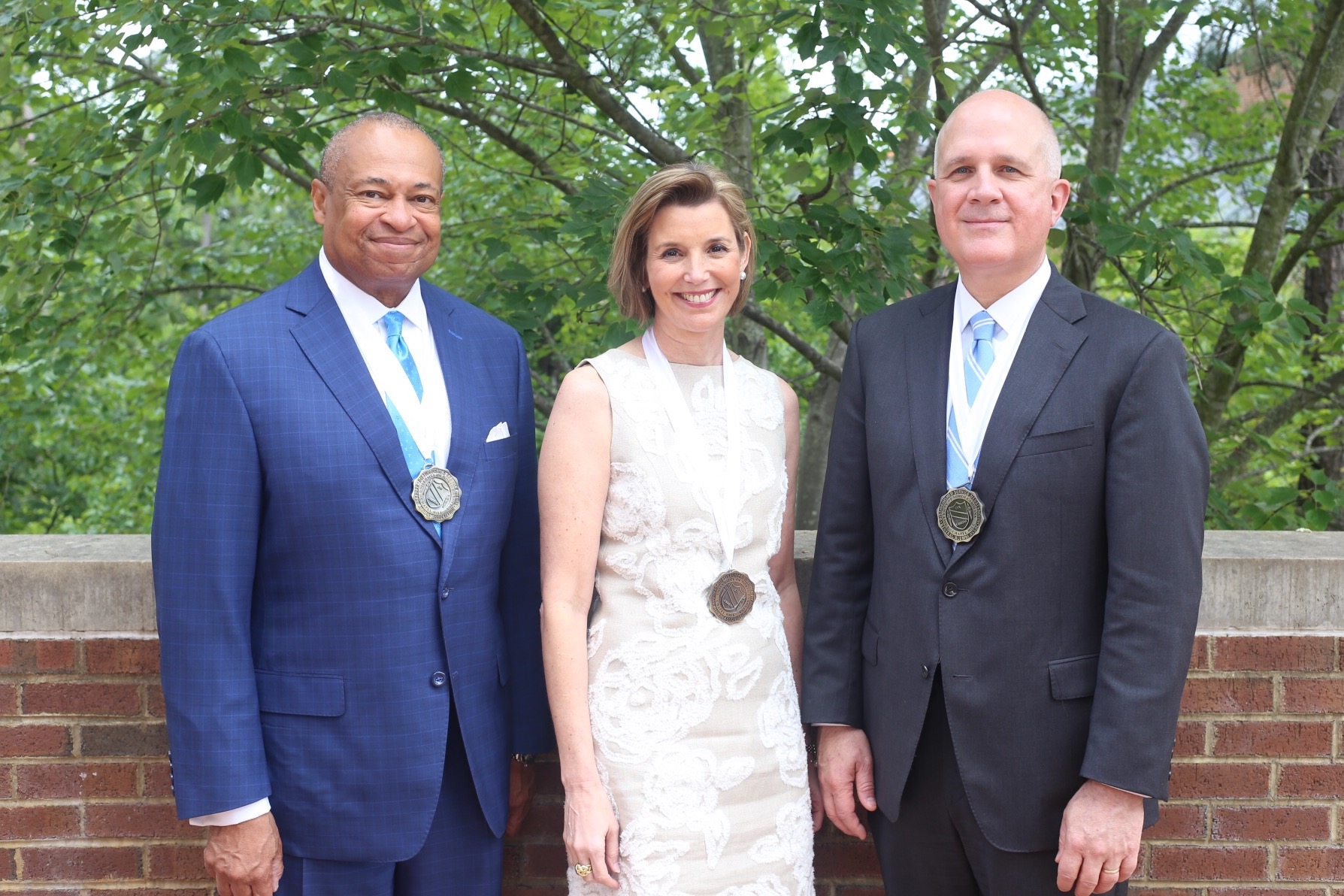 The recipients of the GAA's 2017 Distinguished Service Medals are Michael Kennedy '79, Sallie Krawcheck '87 and Stephen Farmer. (Photo by Ray Black III)