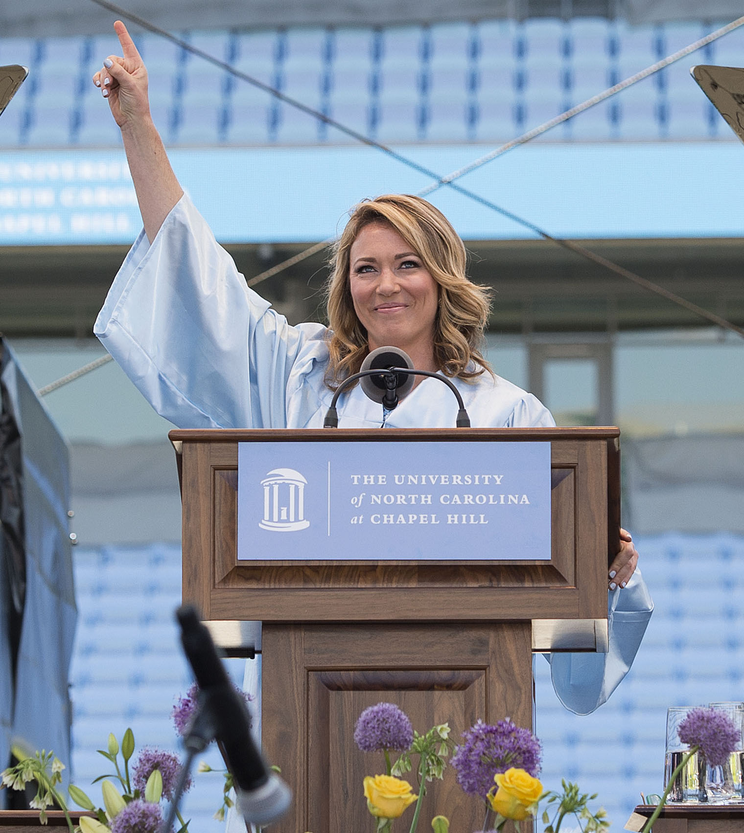 Commencement speaker Brooke Baldwin '01 (UNC photo by Jon Gardiner '98)