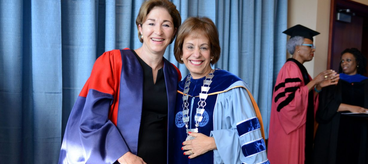 Keynote speaker Anne Marie Slaughter with Chancellor Carol L. Folt before Commencement on May 8, 2016, at Kenan Stadium. (UNC photo by Melanie Busbee '04)