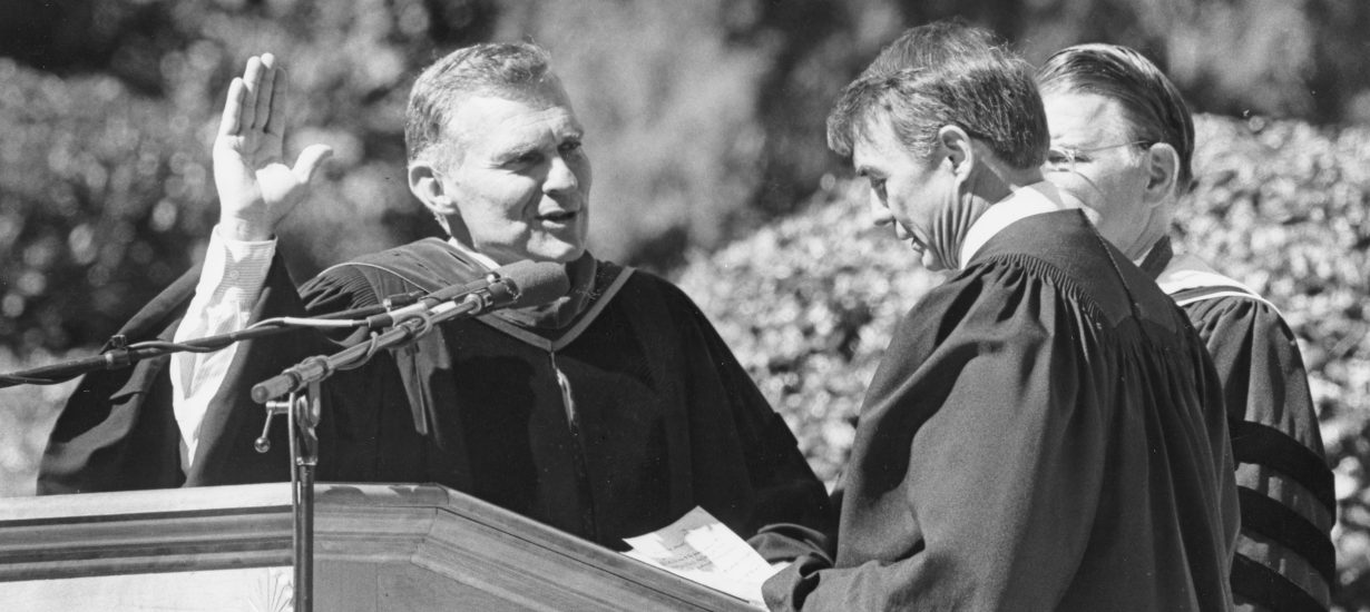 Paul Hardin takes the oath of office as chancellor on Oct. 12, 1988. (Photo by Brian P. Foley '89)