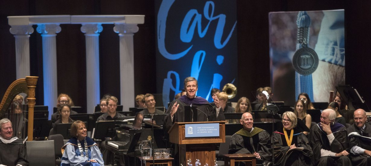 Gov. Roy Cooper '79 ('82 JD) gave the featured address at 2017's University Day. (UNC photo by Jon Gardiner '98)